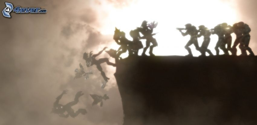 Halo, silhouette, soldiers, cliff