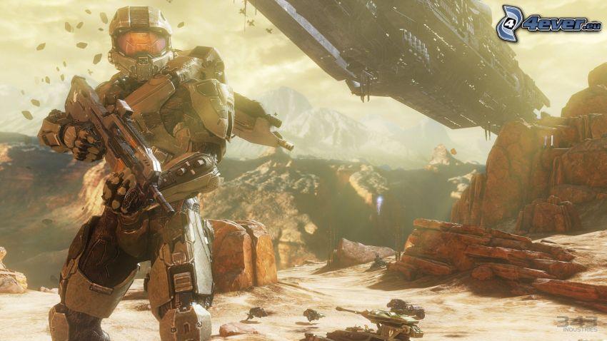 Halo 4, sci-fi soldier, spaceship