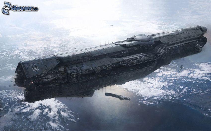 Halo 4, spaceship, sea