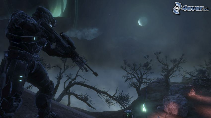 Halo: Reach, sci-fi soldier, night