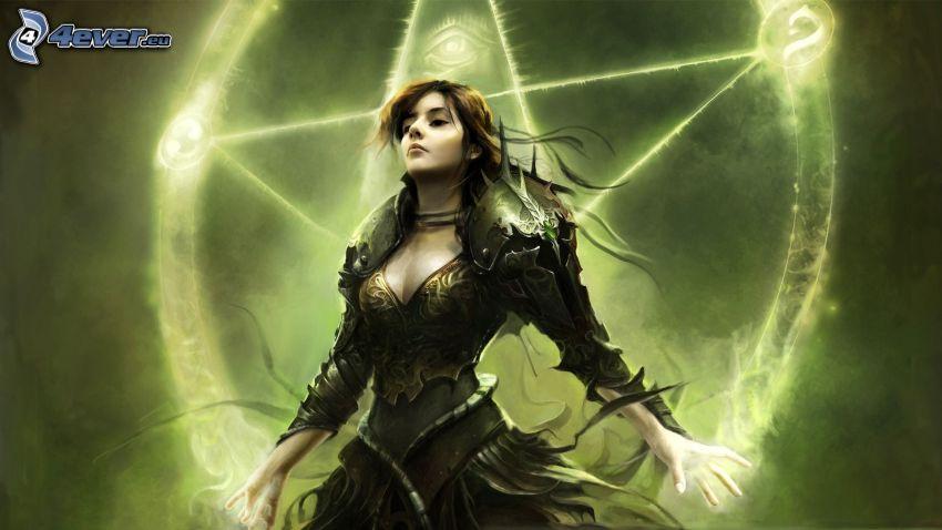 King Arthur, cartoon woman, pentagram