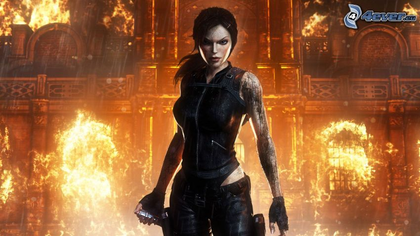 Lara Croft, Tomb Raider, fire