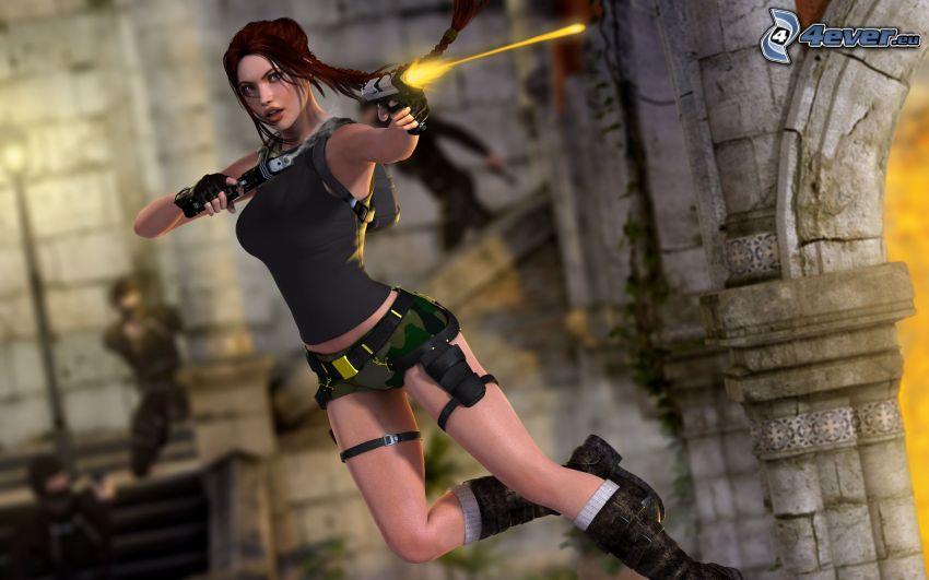 Lara Croft, woman with a gun