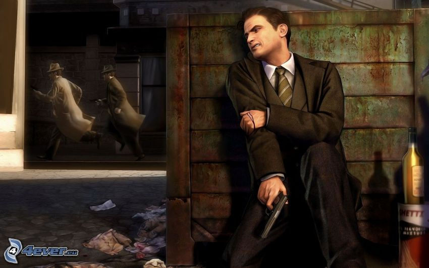 Mafia 2, man in suit, man with a gun