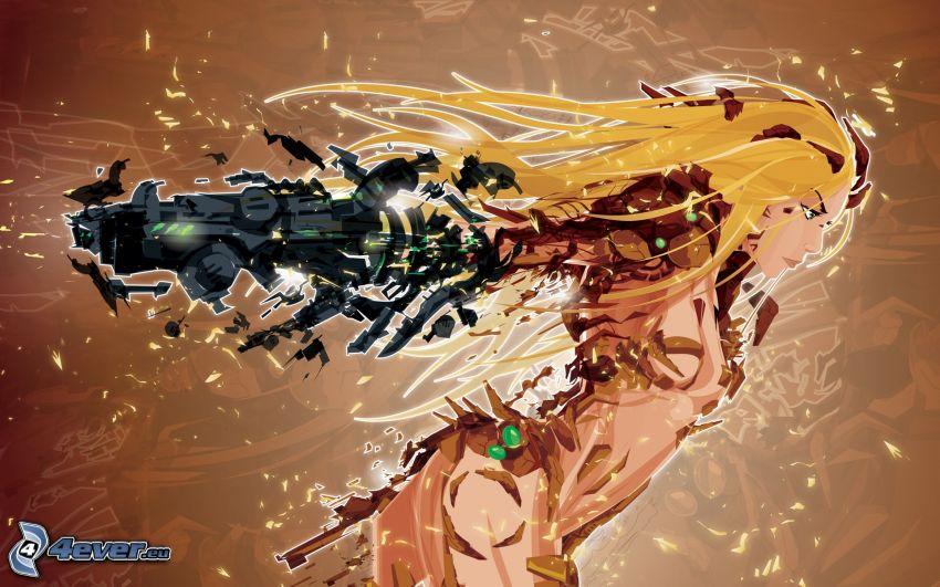 Metroid, cartoon blonde