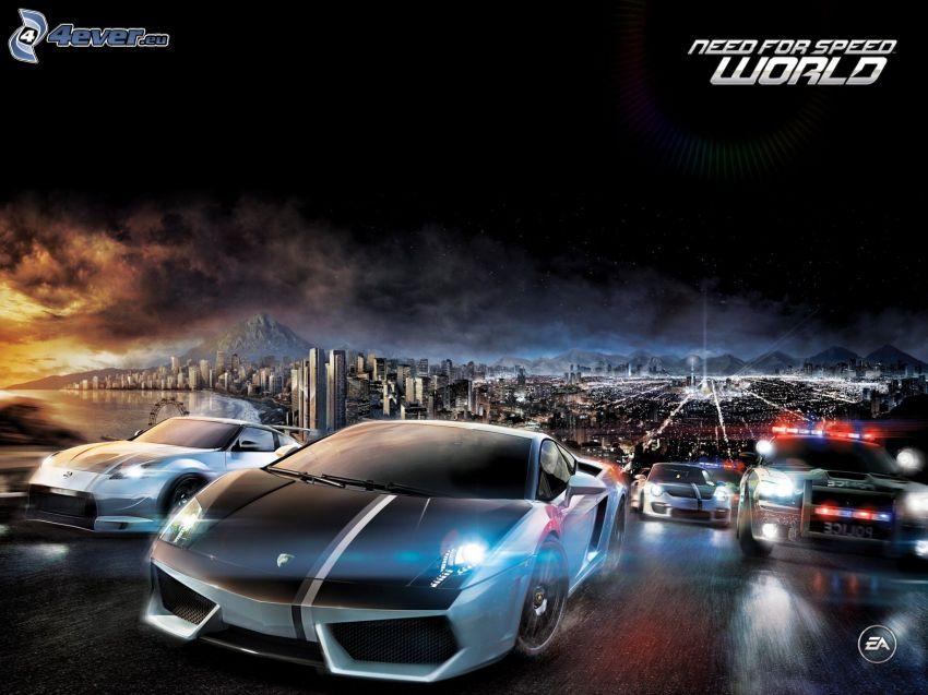 Need For Speed, cars, Lamborghini, police car