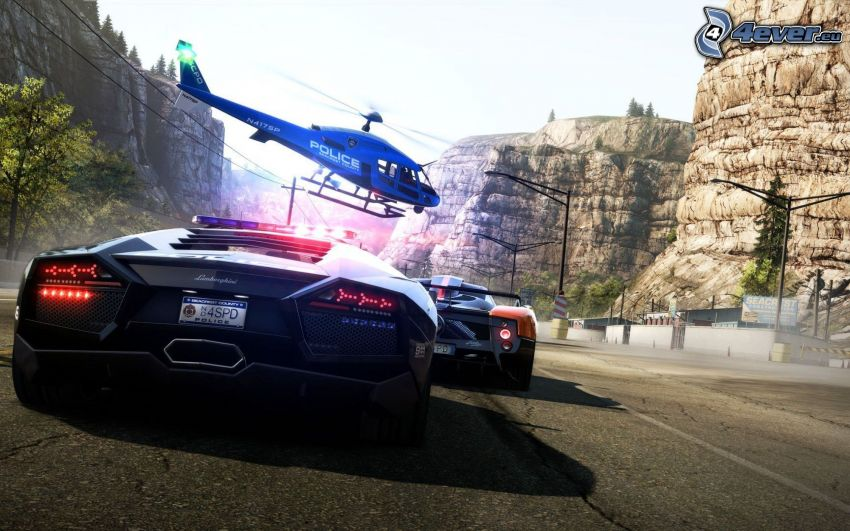 Need For Speed, Lamborghini, helicopter