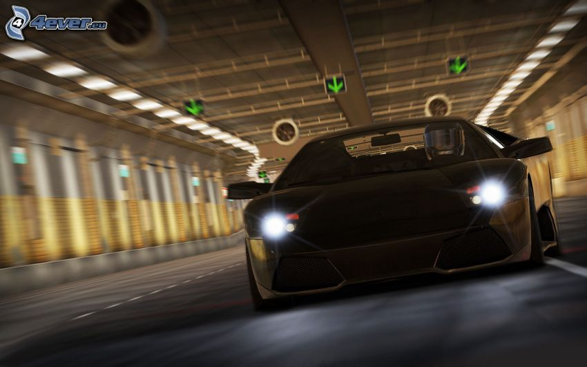 Need For Speed, Lamborghini, speed, tunnel