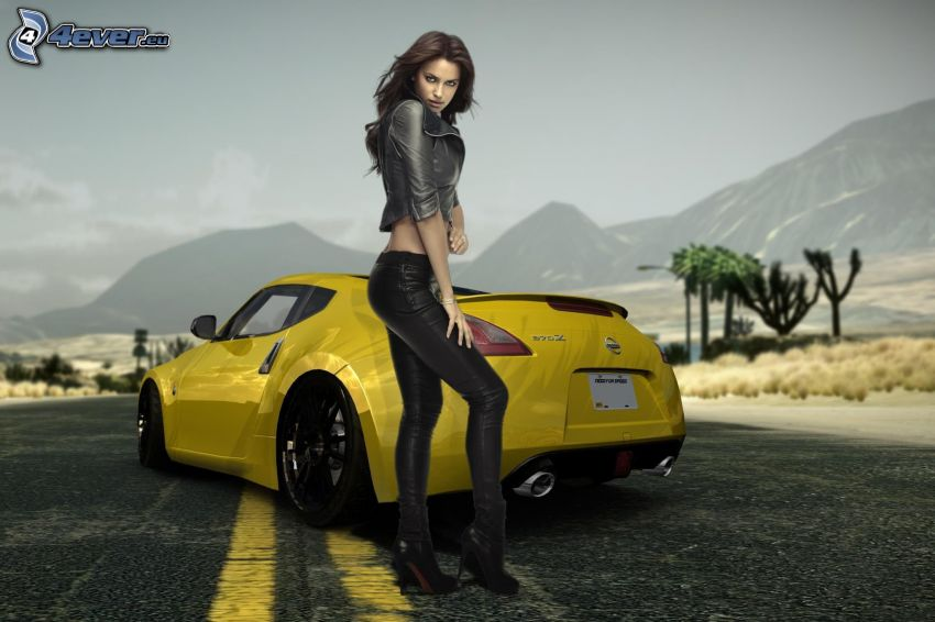 Need For Speed, slim sexy brunette, Nissan 370Z