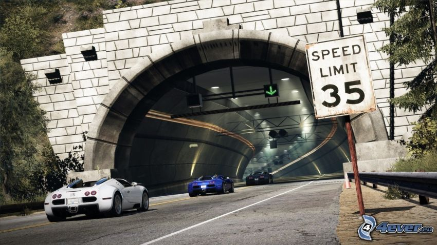 Need For Speed, tunnel, road sign