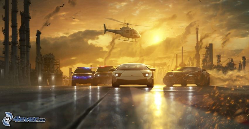 Need For Speed - Most Wanted, Lamborghini Murciélago, police car, helicopter