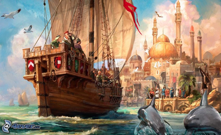 PC game, cartoon sailboat, painting, jumping dolphins