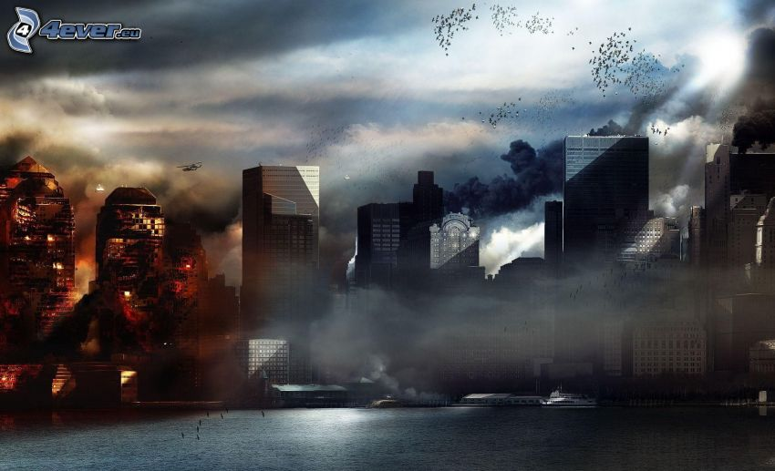 Prototype 2, skyscrapers, explosion, post apocalyptic city