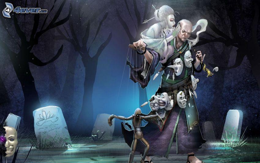 Puppeteer, cemetery, masks
