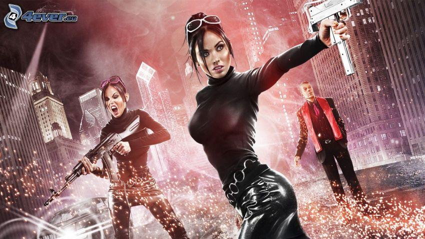 Saints Row: The Third, woman with a gun