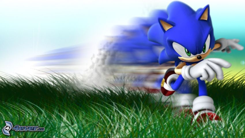 Sonic the Hedgehog, running, grass