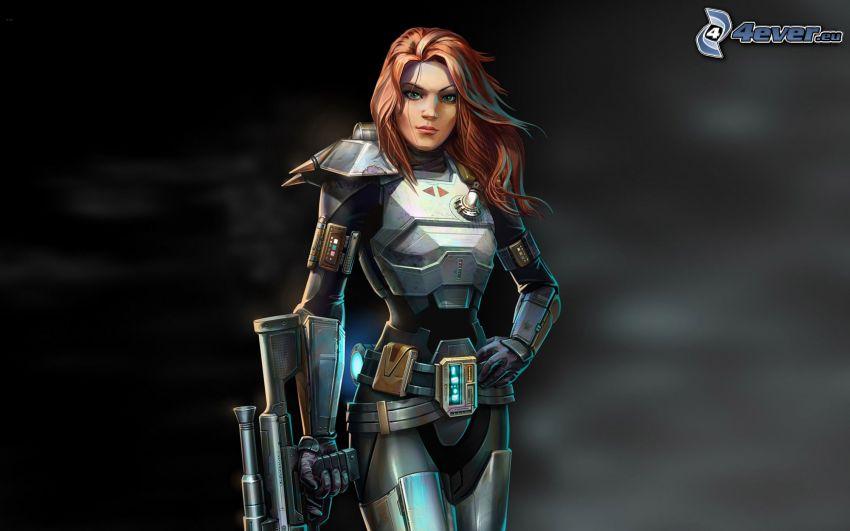 Star Wars: The Old Republic, cartoon woman, woman with a gun