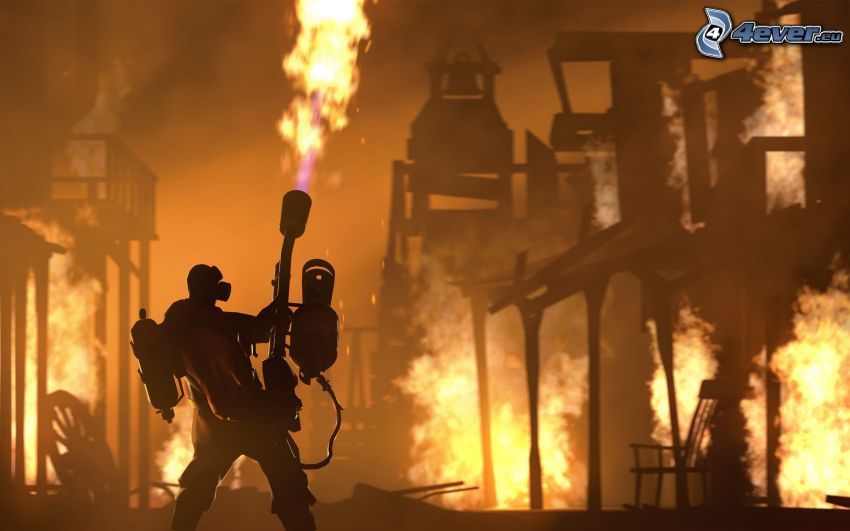 Team Fortress, fire, flames
