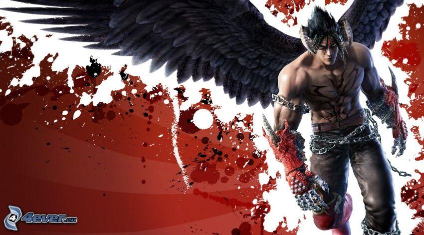 Tekken 6, anime boy, black wings
