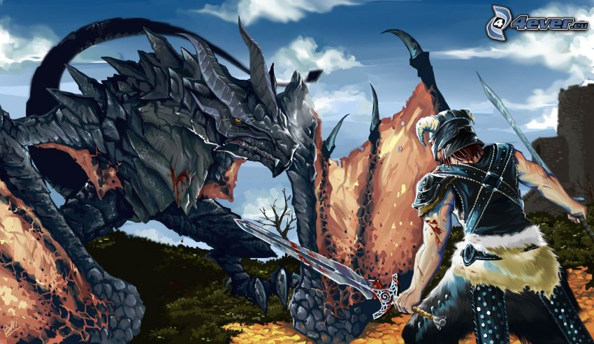 The Elder Scrolls 5, warrior, monster