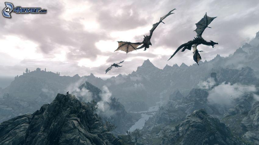 The Elder Scrolls Skyrim, dragons, flight, rocky mountains