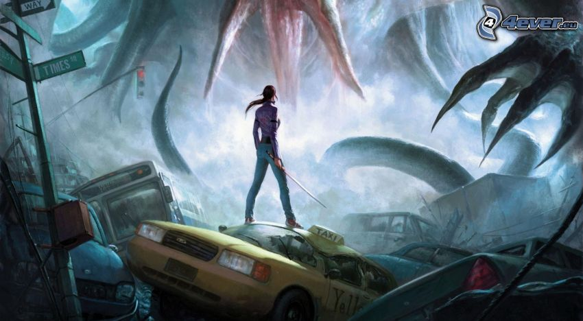 The Secret World, taxi, woman, post apocalyptic city