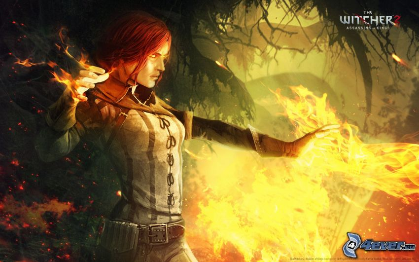 The Witcher 2: Assassins of Kings, girl, fire
