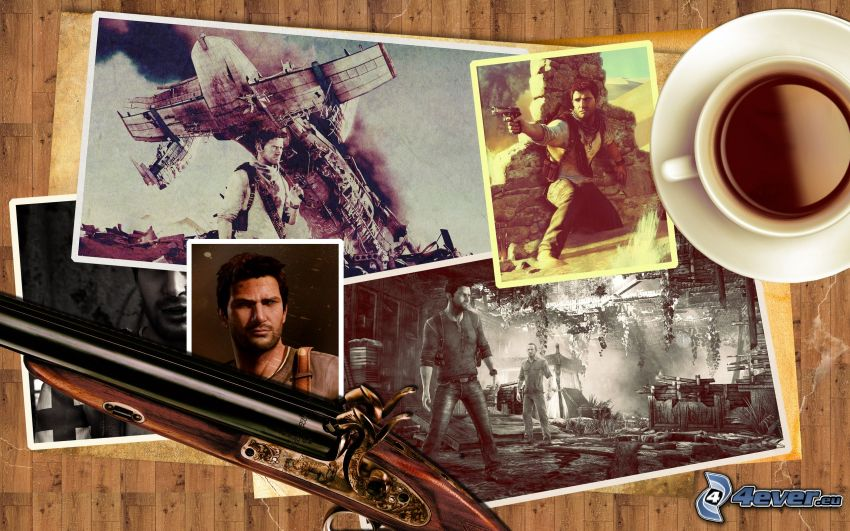 Uncharted 3, photos, shotgun, coffee