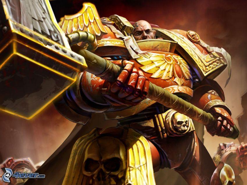 Warhammer, fantasy warrior, skulls, hammer