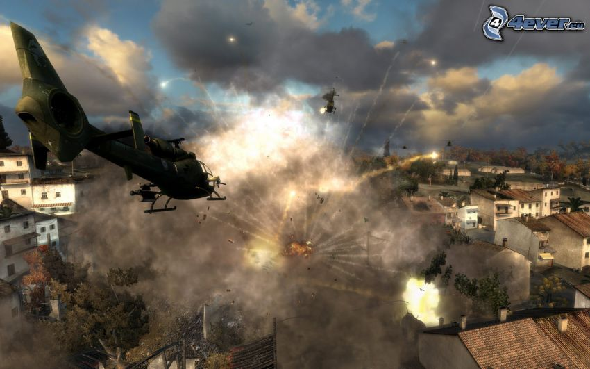 World in Conflict, shooting, military helicopter, explosion