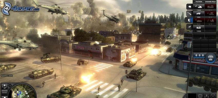 World in Conflict, shooting, ruined city, tanks, military helicopters