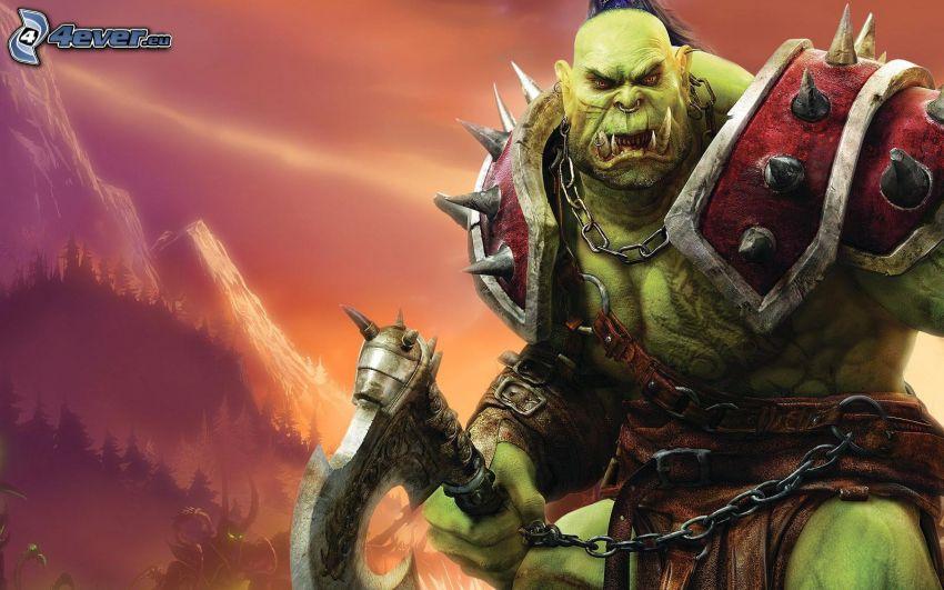 World of Warcraft, fantasy warrior, monster
