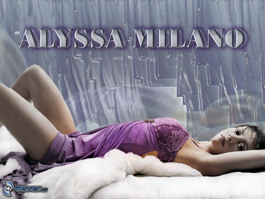 Alyssa Milano, actress, Phoebe, witches, Charmed, brown-haired woman, purple dress
