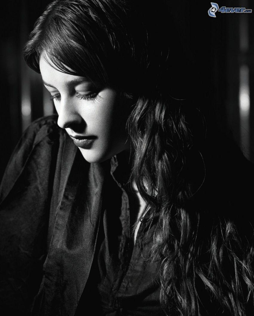 Amelia Warner, black and white photo