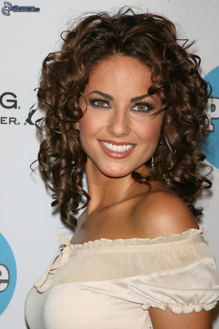 Barbara Mori, smile, curly hair