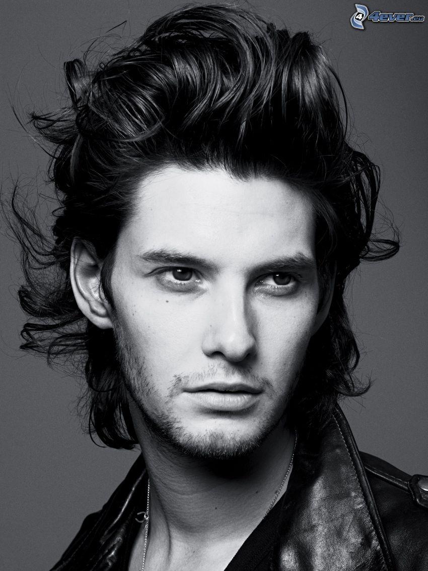 Ben Barnes, haircut, black and white photo