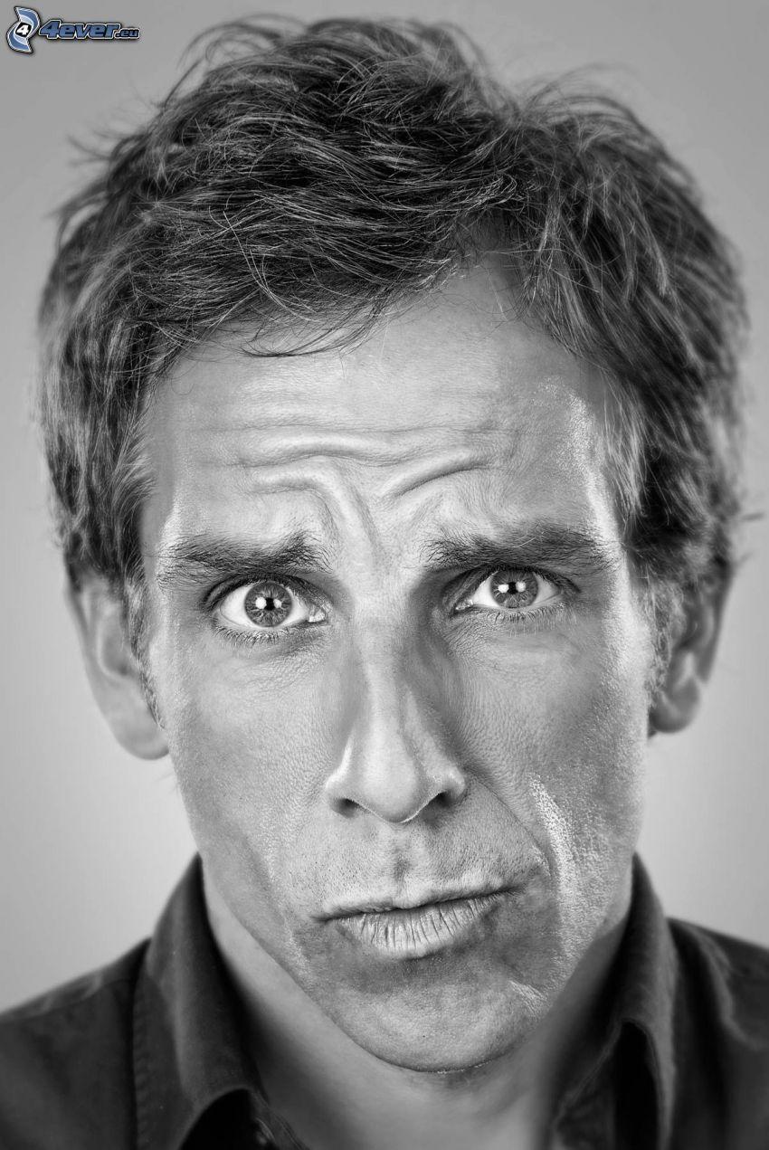 Ben Stiller, grimacing, black and white photo