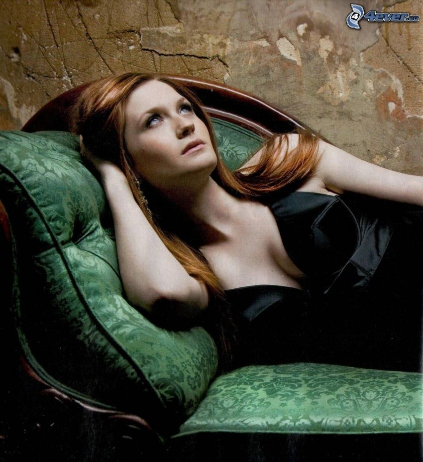 Bonnie Wright, brunette on the couch