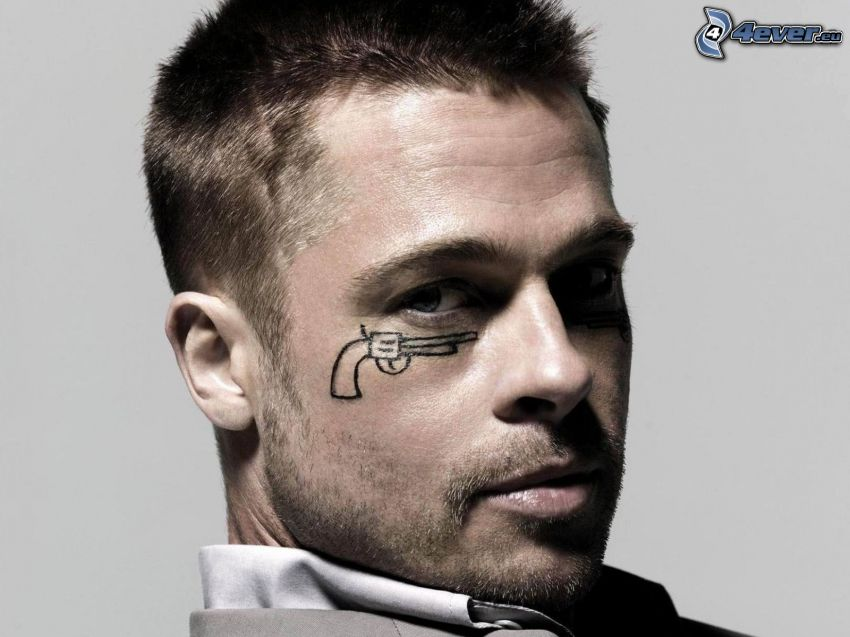 Brad Pitt, pistol, drawing
