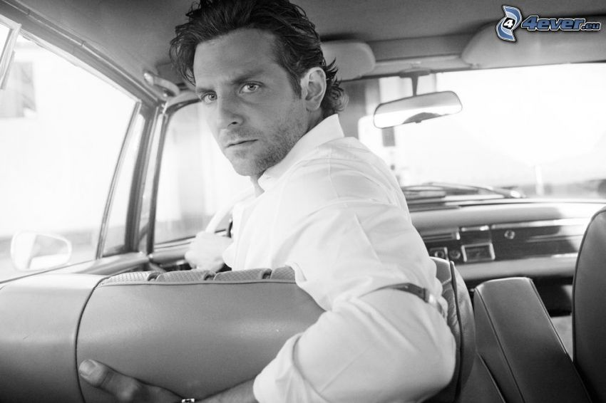 Bradley Cooper, look, car, black and white photo