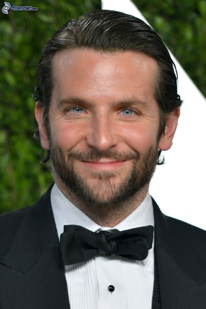 Bradley Cooper, smile, man in suit, bow tie