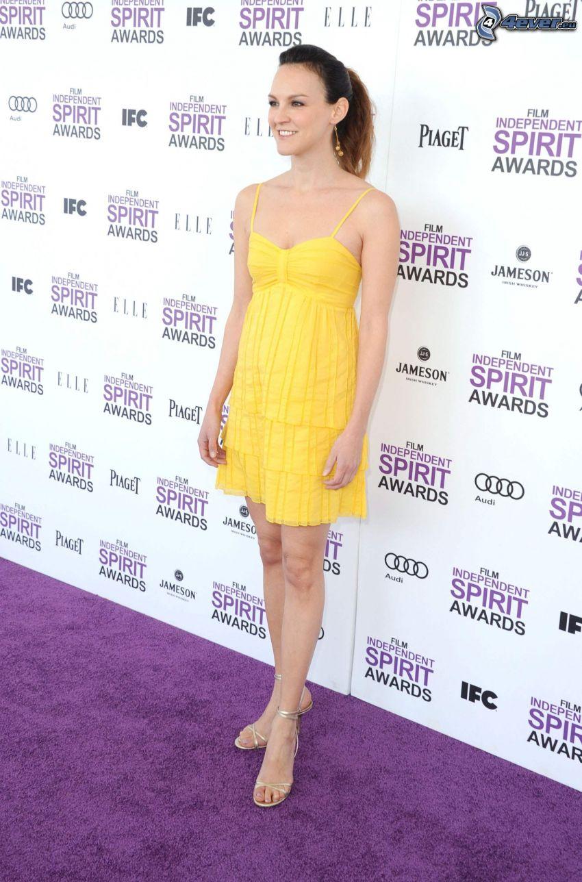 Carla Gallo, yellow dress, smile