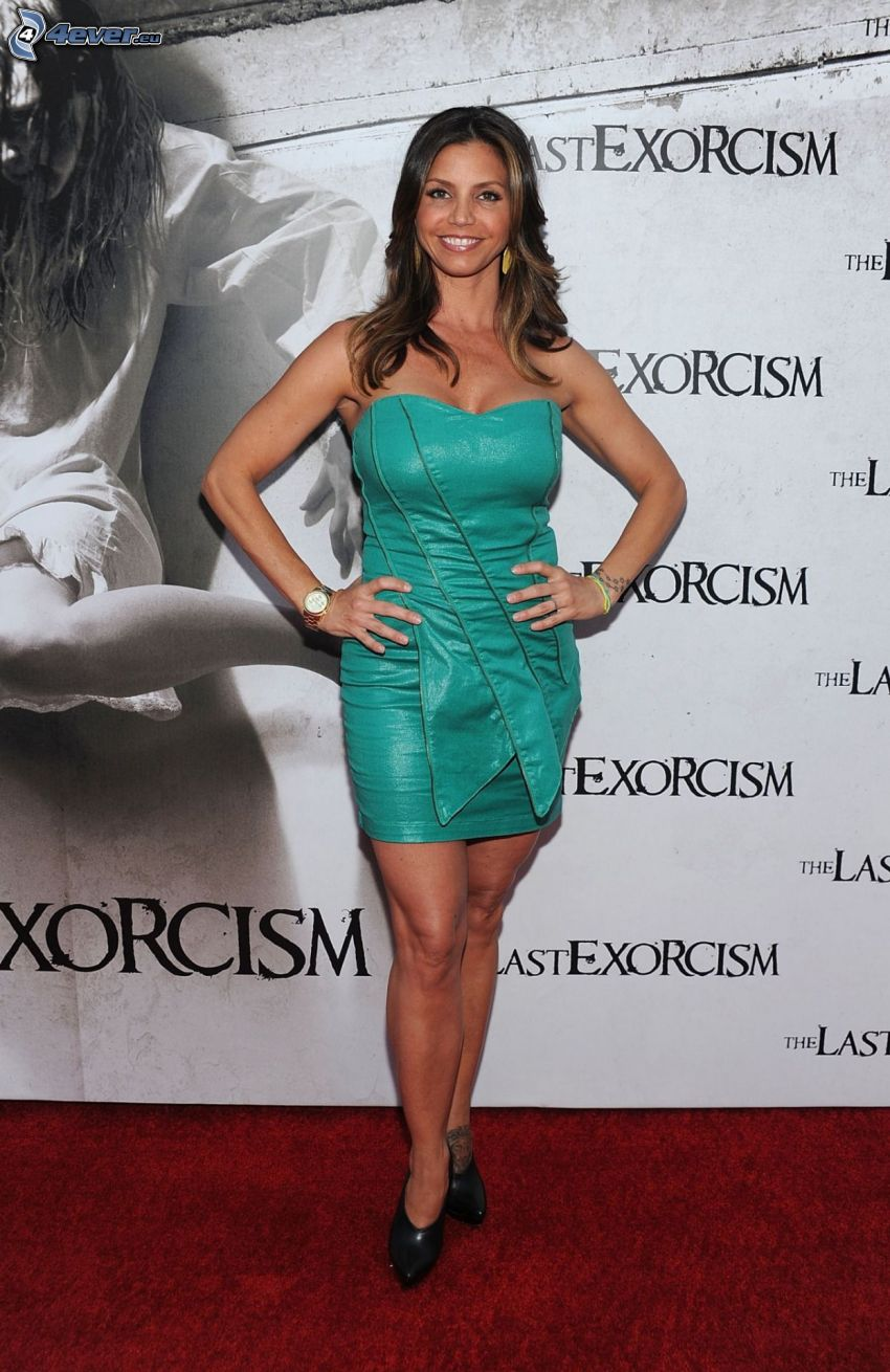 Charisma Carpenter, turquoise dress
