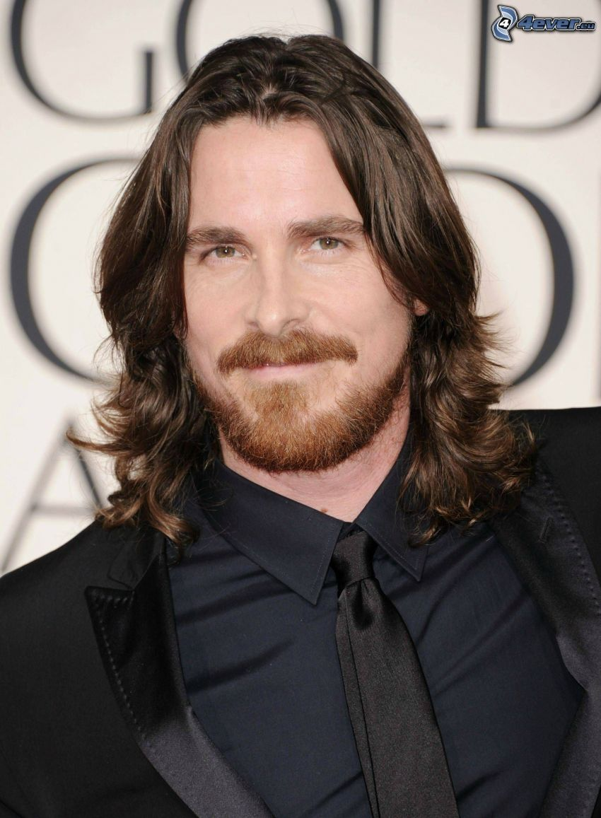 Christian Bale, man in suit, long hair, whiskers