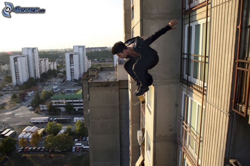 David Belle, jump, stuntman, city