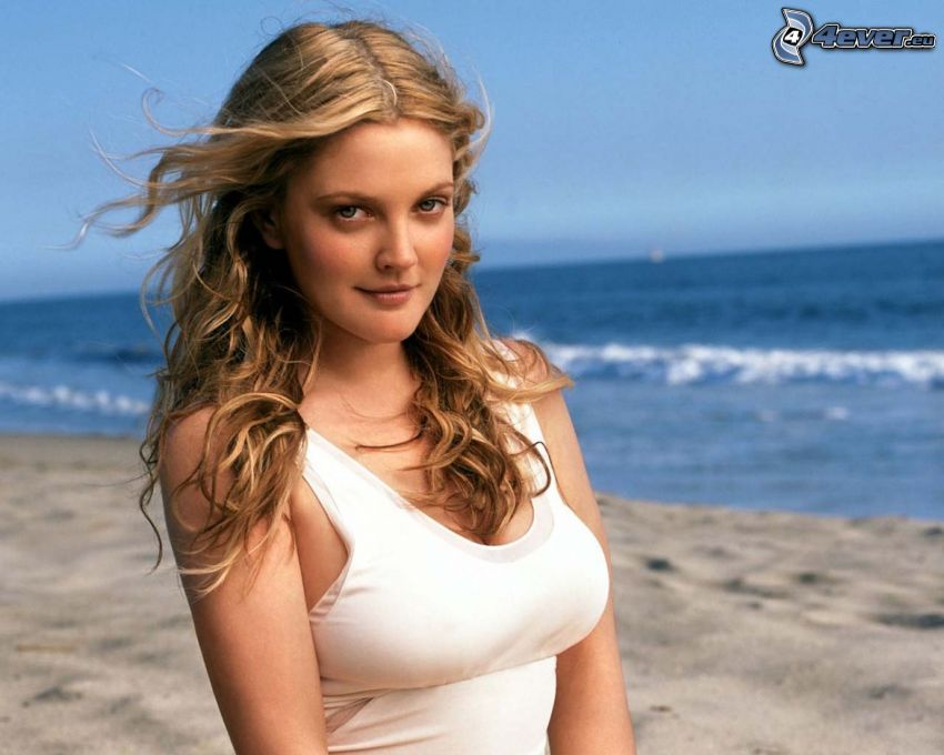 Drew Barrymore, woman on the beach