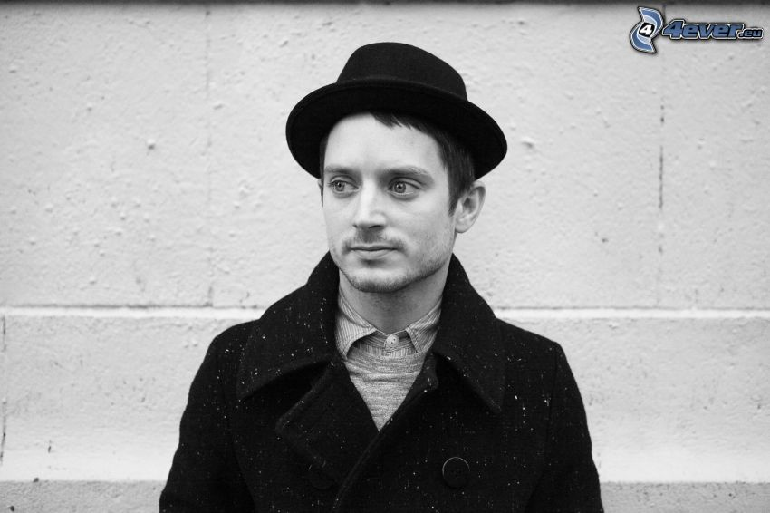 Elijah Wood, a man in hat, black and white photo