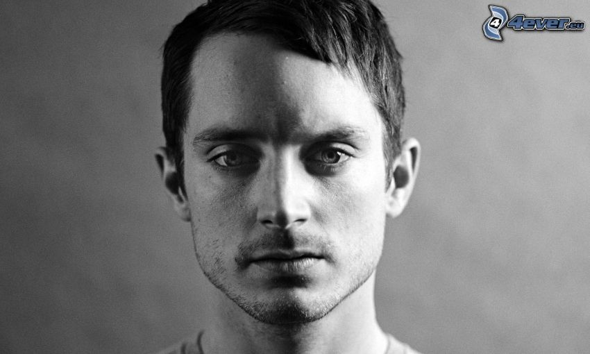 Elijah Wood, black and white photo