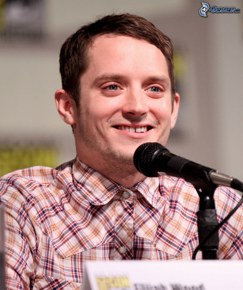 Elijah Wood, laughter, microphone