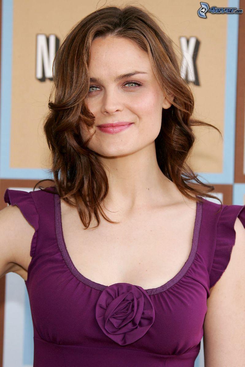 Emily Deschanel, purple dress